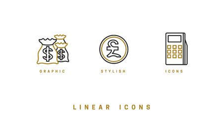 Business Finance Icons. Line icon - Vector illustration Illusztráció