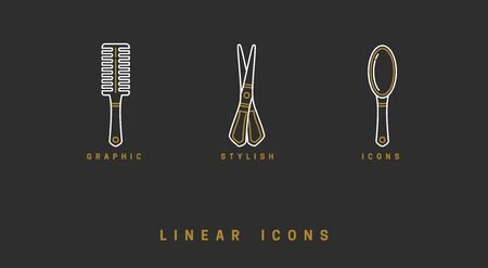 Icons barbershop in linear style. set of tools for hair care, comb brush, scissors. hairbrush icon vector graphics. logos for beauty saloon. appearance care items Illustration