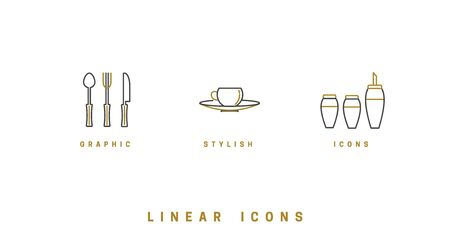 set of vector images of dishes, tools, isolated in linear style, icons. Ilustrace
