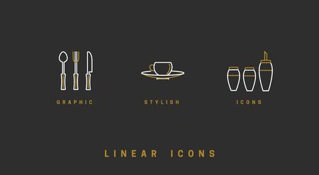 A set of vector images of dishes, tools, isolated in a linear style, icons. Ilustrace