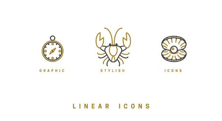 Set of vector, nautical icons. Linear illustrations