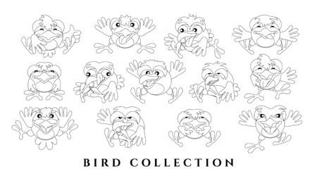 Set cartoon charming birds. Sketch of funny chicks with emotions. Black outline a white background. Isolated, flat style. Template for coloring. Vector illustration.