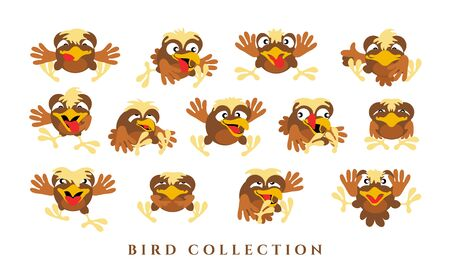 Set cartoon funny birds. Collection of yellow-brown chicks with emotions on a white background. Isolated, in a flat style. Vector illustration Stock Illustratie