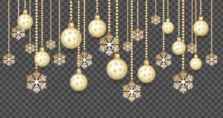 Golden Christmas balls background. Festive xmas decoration gold bauble and bright snowflake, hanging on the ribbon bead