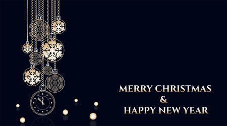 Fond de boules de Noël doré. Boule d'or de décoration de Noël festive et flocon de neige lumineux, pendant des heures accrochées aux chaînes du ruban Vecteurs