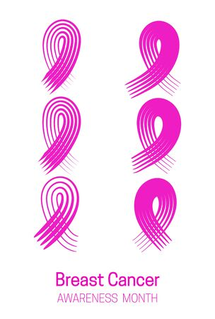 Set of pink ribbons cancer control symbol. Brush strokes. Isolated on a white background. Vector illustration Standard-Bild - 134923856