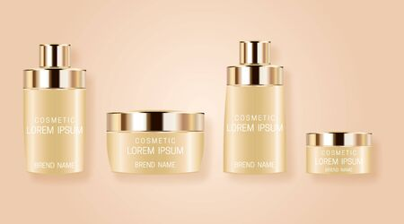 Set of realistic bottles for cosmetic products. Design of beautiful beige packaging with gold cap on pink background. Vector illustration.