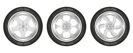Set of car wheels. Collection of black tires and steel rim. Isolated over white background. Vector illustration