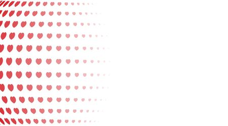 Abstract background. Red hearts of different sizes with halftone effect on white background. Vector illustration.