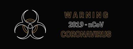 New Coronavirus 2019-nKoV. On black background viral cell. Vector illustration Illustration