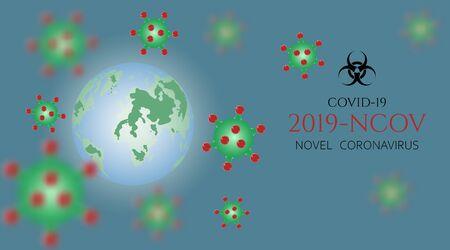 Earth. Viral cells attacking the planet. World global outbreak of coronavirus. 2019-ncov, pandemic coronavirus. Vector illustration.