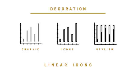 Set Icons diagram in linear style. Infographics icon chart vector graphics