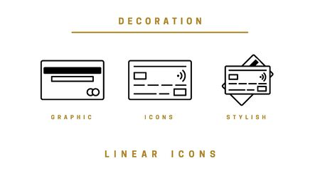 Vector icons set. Linear. Business Data Security and Cloud Security
