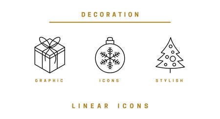 Set. Christmas decor. Christmas background with festive decorative elements, design in a linear style. Christmas black and white vector illustration. Vettoriali