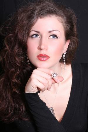 elegant and beautiful woman in jewelry