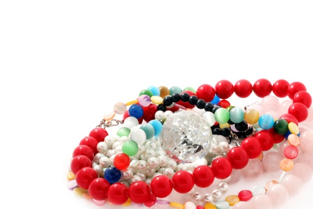 Lots of different colored arts and crafts beads. Stock Photo