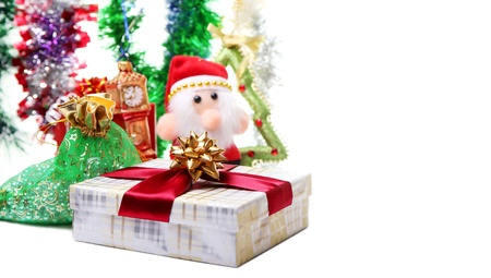 Colorful Christmas card with Santa and decorations photo