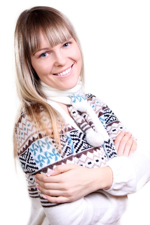 beautiful young smiling woman in a knitted sweater Stock Photo - 11392152