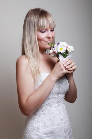 portrait of happy bride with a bouquet Stock Photo - 11784116