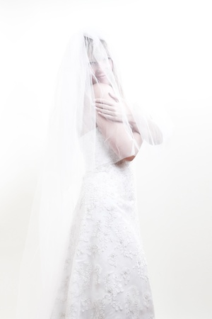 beautiful bride in white dress under a veil Stock Photo - 11783986