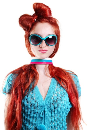 fashion red-haired woman in a stylish glasses Stock Photo