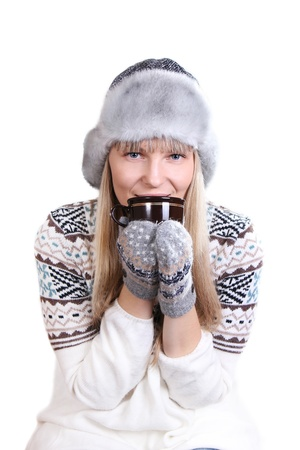 beautiful smiling woman with a cup of coffee isolated Stock Photo