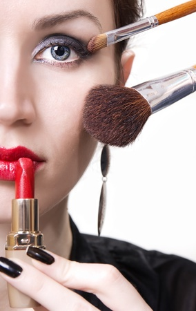 Applying professional make up Stock Photo