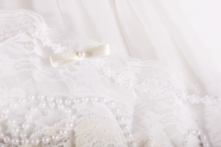 textile wedding background with beads photo