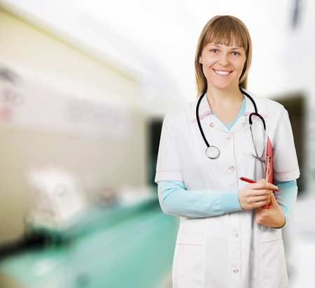 Close-up of female doctor smiling Stock Photo - 12191638