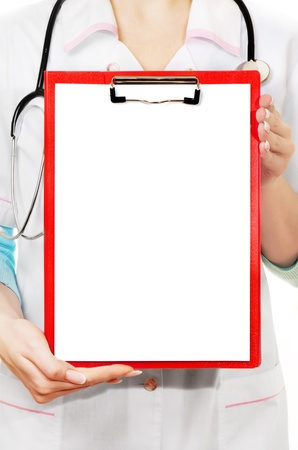 doctor showing clipboard with copy space for text or design photo