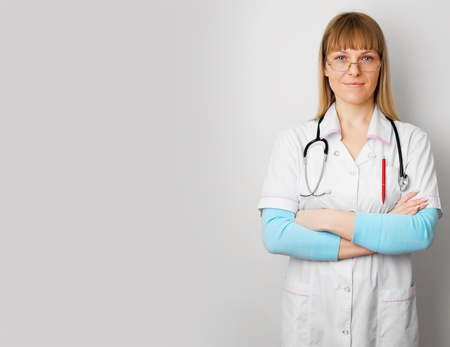 female doctor on background with space for simple text