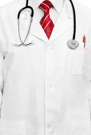 Closeup of a senior doctor on red tie with stethoscope Stock Photo