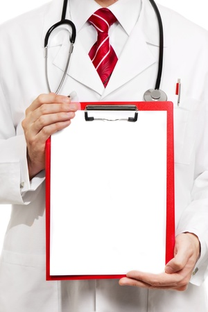 medical clipboard: Doctor showing blank clipboard to write it on your personal message or advice