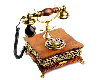 retro phone against a white background