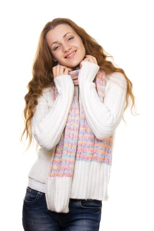 girl in winter clothing isolated on white background