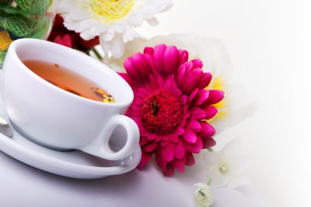cup of herbal tea with beauty flowers photo