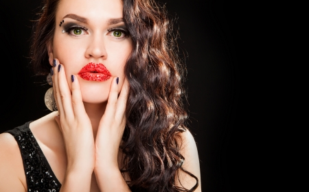 Fashion Brunette creative Makeup Woman with healthy dark curly Hair photo