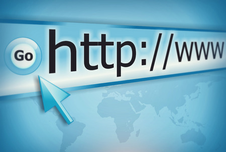 cursor pointing at http www text in browser address bar, arrow pointer, soft macro web url link page closeup