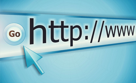 http  www: cursor pointing at http www text in browser address bar, arrow pointer, soft macro web link page closeup