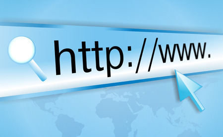 http  www: cursor pointing at http www text in browser address bar, arrow pointer, soft macro web url closeup