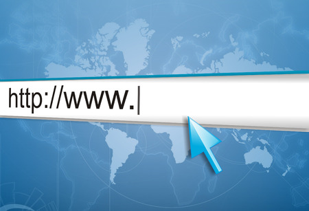 webhost: cursor pointing at http www text in browser address bar, arrow pointer, soft macro web url link page closeup
