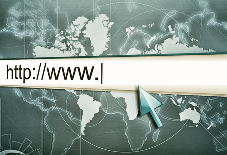 http  www: cursor pointing at http www text in browser address bar, arrow pointer, soft macro web url link page closeup, vintage style Stock Photo