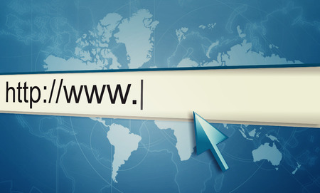 url: cursor pointing at http www text in browser address bar, arrow pointer, soft macro web url link page closeup
