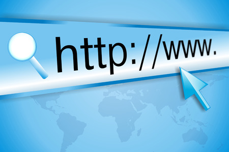 internet page site: cursor pointing at http www text in browser address bar, arrow pointer, soft macro web url link page closeup