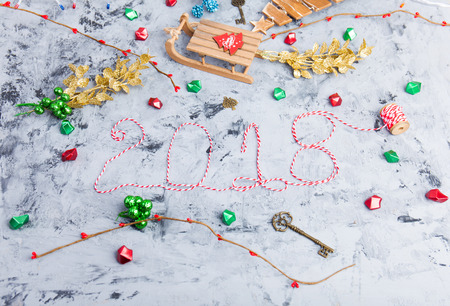 new year 2018 background with figures christmas toys new year 2018 composition text