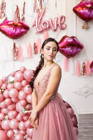 Wow omg. Emotion luxury romantic party Valentine's or Women's Day or Birthday event concept. Portrait of adorable lovely tender cute pretty charming girl in luxury dress