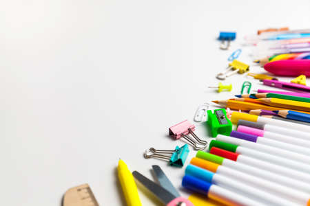 Back to school. Items for the school on a white background with copy space fo text Stock Photo