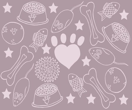 Freehand drawing of pet items. Background of pink color from items for pets.