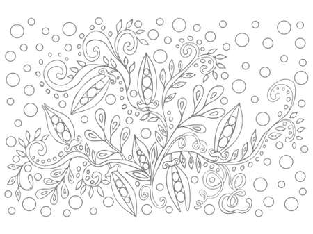 Coloring book for children and adults for anti stress. Gray and white contour drawing, vector graphics. Decorative branch of peas with peas, for anti-stress books, design element, illustration. Illustration