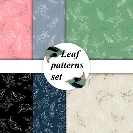 Set of vector backgrounds from leaves. Abstraction from leaves. Hand drawing, seamless pattern of leaves. Set of trendy prints for textile, clothing, wallpaper or wrapping paper design.